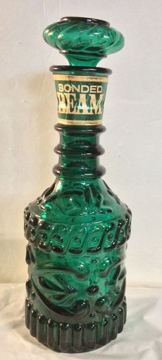 VINTAGE Green Glass Bonded Jim Beam Bourbon Whiskey Decanter Bottle 60's Retro #JamesBeam
