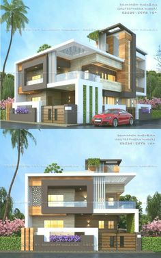 Sagar Morkhade (Vdraw Arc… By, Ar. Modern Exterior House Designs, Latest House Designs, Modern Architecture House, Exterior Design, Modern Bungalow House, Bungalow Exterior, House Paint Exterior, House Outside Design, House Front Design