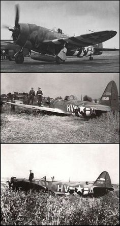 The Gabby's last Jug. P-47D-25-RE Thunderbolt sn 42-26418 HV/A at RAF Boxted after belly landing near Bassenheim, Germany on 20 July 1944.
