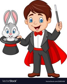 Magician pulling out a rabbit from his top hat Vector Image , Art Drawings For Kids, Drawing For Kids, Art For Kids, The Magicians, Decoration Cirque, Circus Crafts, Hat Vector, Vector Art, Kids Background