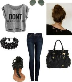 This a cute outfit! But I would have to do something different with my hair...buns and I don't agree