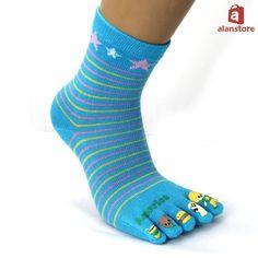 Warmth-Keeping Five-Toe Socks for Women, Lovely Cartoon Printing Toe Socks