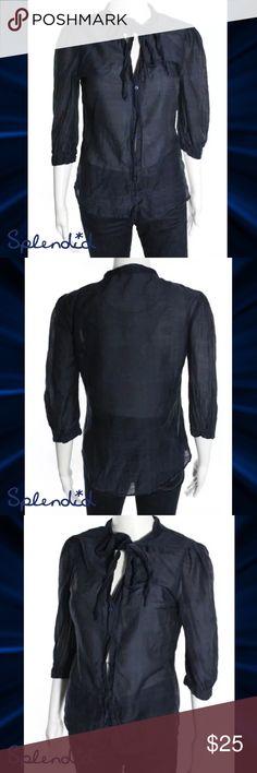 SPLENDID Cute Navy Blue/Black Plaid LS Tie Top SIZE M. 70% Cotton/30% Silk Blend. Button Down Center. 3/4 Sleeves. Tie Neck. WORN ONCE Splendid Tops Button Down Shirts