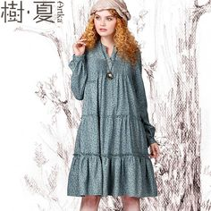 Artka Women's Autumn Vintage Stand Collar Long-Sleeve Full Hemline All-Match Print Loose Cotton Dress LA10847Q via Artka. Click on the image to see more!