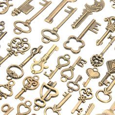 125Pcs Vintage Bronze Key For Pendant Necklace Bracelet DIY Handmade AAccessorie.s Decoration