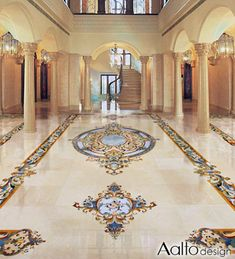 We specialize in one-of-a-kind marble inlay flooring, backsplaces, tables, and more. Luxury Homes Interior, Home Interior Design, Foyer Flooring, Marble Floor, Marble Mosaic, Floor Design, Grand Foyer, Blue Stones, Bedrooms
