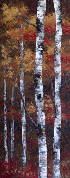 """Autumn Gold"" 16x40 Original Acrylic Autumn Aspen / Birch Tree Painting on Canvas by Canadian Artist Melissa McKinnon.  www.melissamckinnon.wordpress.com"