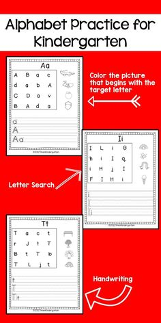Alphabet Practice. Letter search, color the pictures and practice handwriting.