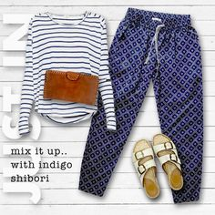..indigo shibori print pant + summer slides + breton top = summer essentials.. www.foundling.com.au