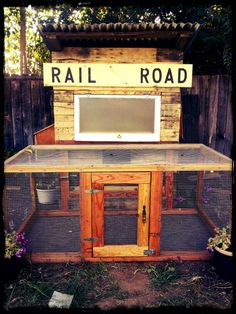 Chicken coop made mostly from wood pallets and reclaimed materials.