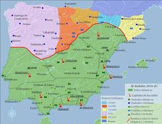 Islamic Spain and the Reconquista European History, World History, Geography Of Spain, History Of Portugal, Road Trip Map, Mystery Of History, Islamic World, Vintage Maps, Book Projects