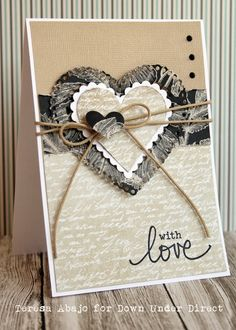 card with heart hearts by Teresa Abajo using Darkroom Door Simple Sayings Rubber Stamp Set script background love Valentines Day Background, Valentine Day Cards, Vintage Valentines, Wedding Cards Handmade, Greeting Cards Handmade, Wedding Anniversary Cards, Handmade Anniversary Cards, Heart Cards, Vintage Cards