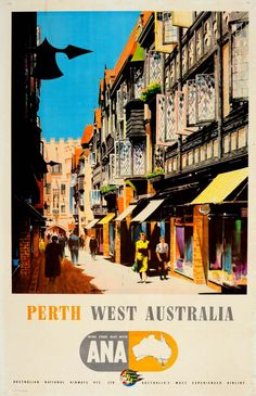 Buy online, view images and see past prices for Travel Poster Perth West Australia ANA. Invaluable is the world's largest marketplace for art, antiques, and collectibles. West Australia, Australia Travel, Posters Australia, Australian Vintage, Australian Continent, Island Nations, Vintage Travel Posters, Retro Posters, New Zealand Travel