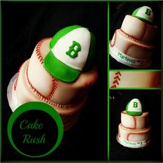 Batter Batter SWING!!! Baseball inspired 2 tier fondant wrapped cake with a replics of the birthday boys' baseball cap. =)
