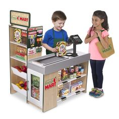 Shop for Melissa & Doug Freestanding Wooden Fresh Mart Grocery Store (Wooden Grocery Stand, Ample Shelving, H x W x L). Get free delivery On EVERYTHING* Overstock - Your Online Toys & Hobbies Shop! Little Girl Toys, Toys For Girls, Kids Toys, Pretend Grocery Store, Cash Register, Melissa & Doug, Sports Toys, Hobby Shop, Toys Online