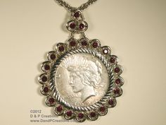 Another circa 1950 necklace with Peace Silver Dollar available from D & P Creations on TrEmbu.  $46.95