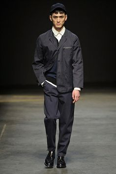 Navy single breasted jacket with zipped breast pocket by YMC - London Collections Men 2014