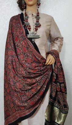 Red And Black Ajrakh Hand Block Printed Mashru Silk Dupatta With Zari Border Printed Kurti Designs, Silk Kurti Designs, Kurta Designs Women, Salwar Designs, Stylish Dress Designs, Stylish Dresses, Fashion Dresses, Indian Gowns Dresses, Pakistani Dresses