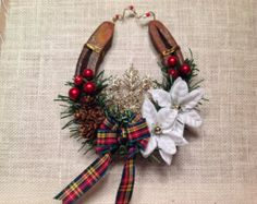 Celtic Christmas Horseshoe-Horse Lover Christmas- Farmhouse  Christmas, Country Chic Christmas-- Christmas Tartan- , -Equestrian Christmas