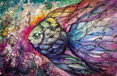 Banco de peces en el arrecife de coral Imagen creada con las acuarelas photo