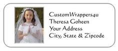 Personalized First Communion Address Labels with Picture - Get invitations to match!