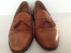 Men's Allen Edmonds Dalton Brown Leather Tassel Slip On Loafers Shoes Size 9 D #AllenEdmonds #LoafersSlipOns