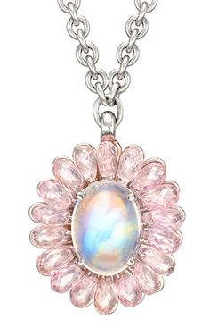 Moonstone and pink sapphire cluster pendant by PAUL MORELLI