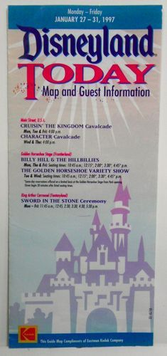 Disneyland Today January 27-31 1997 Vintage Brochure Guide Map Guest Information