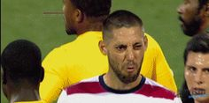 Deuce Face - perhaps the most famous gif in USMNT history. Clint Dempsey in a brief scuffle with several Reggae Boyz from Jamaica produced this. #usmnt #gif #deuceface