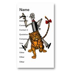 Vintage Tin Man and Cowardly Lion Business Cards