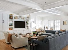 Living Room Sectional, Home Living Room, Living Room Designs, Living Room Decor, Sectional Sofa, Living Room And Kitchen Together, Family Room With Sectional, Living Room Built Ins, Large Sectional