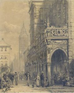Rathaus, Bremen, Drawing by Cornelis Springer (1817-1891, Netherlands)