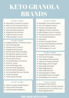 WOW! This is the absolute best list of Keto granola brands! There's keto friendly granola brands that are only 1g net carbs per serving! #Keto Keto Snacks To Buy, Good Keto Snacks, Snacks List, Chocolate Crunch, Keto Chocolate Chips, Almond Farm, Granola Brands, Blueberry Crunch, Best Keto Breakfast