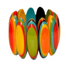 NOT A BROOCH, BUT I LOVE THE COLORS & STYLE. FRENCH DESIGNER SPECTACULAR MULTI COLOR RESIN SURF BOARD EXPANDABLE BRACELET