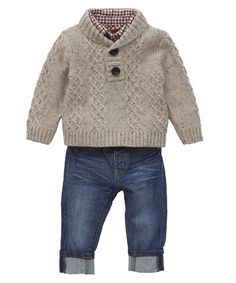 Mothercare Check Shirt, Cable Knit Jumper and Jean Set - sets & outfits - Mothercare