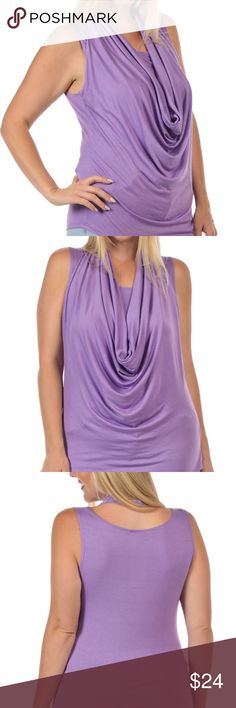 🆕 PLUS Drape Sleeveless Top Lilac Stretchy and stylish with the drape neck detail. 97% Rayon and 3% Spandex. Also available in turquoise, gray, black, white and tangerine. Bellino Clothing Tops Tank Tops
