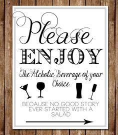 """Printable Downloadable 8.5"""" x 11 Wedding Open Bar Sign - Please Enjoy Beverage of your Choice Modern Bar Sign for Weddings or Parties"""