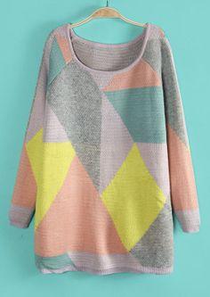 Yellow Long Sleeve Geometric Pattern Long Sweater US$33.11