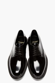 SAINT LAURENT BLACK Patent leather derbys