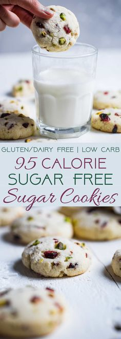 Gluten Free Sugar Free Sugar Cookies -These quick and easy, CHEWY sugar freesugar cookies havetangy and crunchy cranberries and pistachios! They're a healthier Christmas treat for only 95 calories! | Foodfaithfitness.com | @FoodFaithFit | gluten free sugar cookies. soft sugar cookies. best sugar cookies. easy sugar cookies.  via @FoodFaithFit