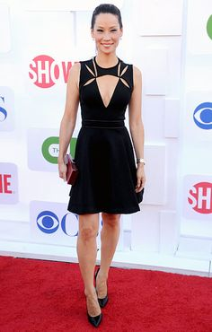 Lucy Liu:  The Elementary actress chose a peekaboo J. Mendel dress with a plunging neckline for her red-carpet stroll at the CBS, Showtime and The CW 2012 TCA summer tour party in Beverly Hills on July 29.