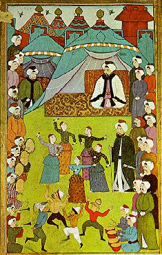 """Turkish Miniature Painting. """"The Sultans watching dancers and comedians in the Hippodrome"""" (1703-30)"""