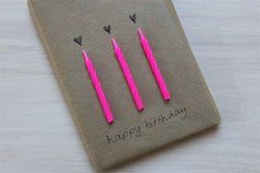 Use birthday candles to brighten up a present wrapped in Kraft paper #diy #card