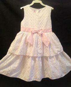 Vintage White Eyelet Girls Dress 6X Ruffle Lace Communion Flower Easter Fancy | eBay
