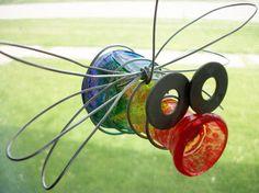 Outdoor Hanging Glass Bud Vase Jar Bug Garden Decor by TooShai, $8.00  SO CUTE.
