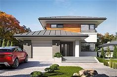 Projekt domu Karat 157,99 m2 - koszt budowy - EXTRADOM Modern Family House, 2 Storey House Design, House Construction Plan, Mediterranean Style Homes, Home Fashion, Bungalow, Beautiful Homes, Architecture Design, House Plans
