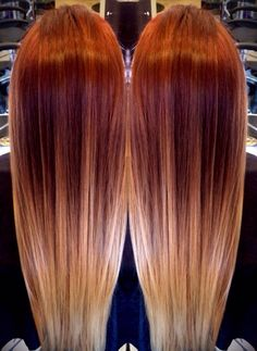Red blonde ombre hair color trends highlights melting to balayage Red Blonde Ombre Hair, Ombre Hair Color, Balayage Hair, Copper Blonde Balayage, Copper Ombre, Brunette Ombre, Blonde Highlights, Haircuts For Long Hair, Red Hairstyles