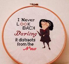 Knitting Patterns Funny Edna Mode - Never Look Back - Cross Stitch Pattern (PDF) Cross Stitching, Cross Stitch Embroidery, Embroidery Patterns, Hand Embroidery, Knitting Patterns, Crochet Patterns, Edna Mode, Kuzco Disney, Cross Stitch Designs