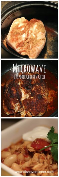 Microwave Chipotle Chicken Chili- Made with FROZEN chicken breasts, canned goods and cooks in about 20 minutes in the Pampered Chef RockCrok