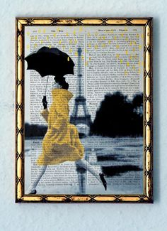 YELLOW RAIN original ARTWORK mixed media hand painted by artretro, $12.00